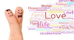Couples peints de smiley de doigt Photo libre de droits