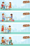 Couples of people in cafe. Vector Illustration with city landscape in window. Royalty Free Stock Photos
