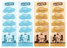 Couples of people in cafe. Vector Illustration with friends men and women sitting at tables. Royalty Free Stock Images