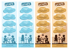 Couples of people in cafe. Vector Illustration with friends men and women sitting at tables. Stock Image