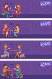 Couples of people in cafe. Vector Illustration with friends men and women sitting at tables. Stock Photos