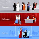 Couples People Flat Banners. Horizontal happy couples people of different age and nationalities indoor and outdoor flat isolated banners vector illustration Stock Image