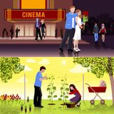 Couples People Flat Compositions. Happy couple having date at cinema and family working in garden flat compositions isolated vector illustration Stock Images