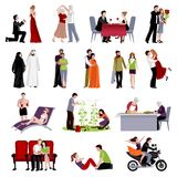 Couples People Flat Set. Couples people of different age and nationalities spending time together in various places flat set on white background isolated vector Stock Images