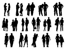 Couples people walk. Drawing couples on the walk. Silhouettes on white background Stock Images