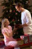 Couples permutant des présents devant l'arbre Images stock