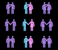Couples Pictograms. Vector Pictogram of Couples (Heterosexual, Gay and Lesbian Stock Photos