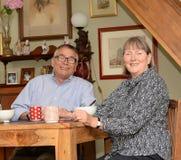 Couples plus anciens heureux détendant à la maison image stock
