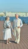 Couples pluss âgé ayant le repos dans le parc Photographie stock