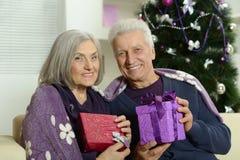 Couples pluss âgé célébrant la nouvelle année Images libres de droits