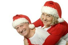 Couples pluss âgé célébrant la nouvelle année Image libre de droits