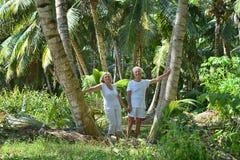 Couples pluss âgé dans le jardin tropical Images stock
