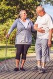 Couples pluss âgé de rapports romantiques marchant par le parc Photos stock