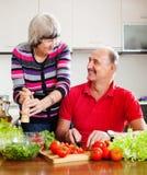 Couples pluss âgé heureux dans la cuisine à la maison Images libres de droits