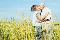 Couples pluss âgé heureux extérieurs Image libre de droits