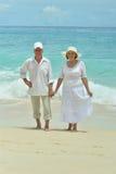 Couples pluss âgé marchant le long du bord de la mer Photographie stock