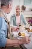 Couples pluss âgé tenant des mains tout en prenant le petit déjeuner Photos libres de droits