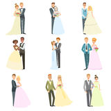 Couples Posing Together On Wedding Day Stock Images