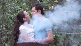 Couples près du barbecue banque de vidéos