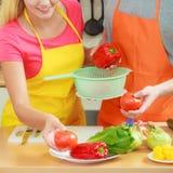 Couples préparant la salade de nourriture de légumes frais Photographie stock libre de droits