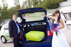 Couples prêts à voyager Images libres de droits