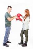 Couples prêts pour le combat Photographie stock libre de droits