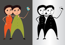 Couples prenant la photo de Selfie - illustration de vecteur illustration stock