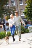 Couples prenant le chien pour la promenade en parc de ville Photos stock