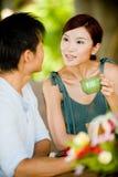 Couples prenant le petit déjeuner Photo stock