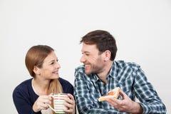 Couples prenant un petit déjeuner Photo libre de droits