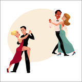Couples of professional ballroom dancers dancing, looking at each other Royalty Free Stock Photography