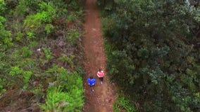 Couples pulsant sur le chemin forestier banque de vidéos