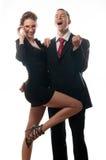 Couples réussis heureux d'affaires Photos libres de droits