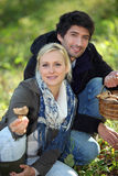 Couples rassemblant des champignons photos libres de droits