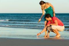 Couples recherchant des coquilles au coucher du soleil Photographie stock libre de droits