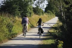 couples recyclant le chemin de cycle Photographie stock libre de droits