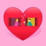 Couples remettant la fleur par la fenêtre sur la Chambre en forme de coeur illustration stock
