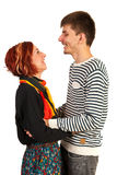 Couples riants ayant la conversation Images libres de droits