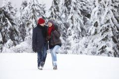 Couples riants de marche de neige de femme d'homme Images libres de droits