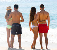 Couples on romantic summer holidays stock photography