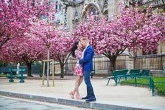 Couples romantiques à Paris avec des arbres de fleurs de cerisier Photographie stock libre de droits