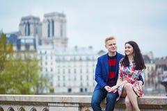 Couples romantiques à Paris près de la Seine Photo stock