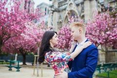 Couples romantiques à Paris une journée de printemps Images libres de droits