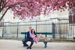 Couples romantiques à Paris une journée de printemps Image stock