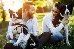 Couples romantiques chez les chiens de marche d'amour dans la nature et le sourire Photos stock