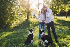 Couples romantiques chez les chiens de marche d'amour dans la nature et le sourire Image stock