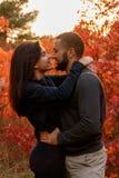 Couples romantiques dans l'amour en parc d'automne Photographie stock libre de droits