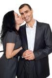 Couples romantiques dans l'amour, la belle femme et l'homme d'isolement sur le fond blanc Photos libres de droits