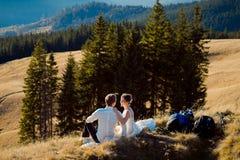 Couples romantiques de mariage se reposant sur la crête de montagne Lune de miel dans les Alpes Photographie stock