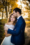 Couples romantiques de nouveaux mariés de valentyne de conte de fées Images libres de droits